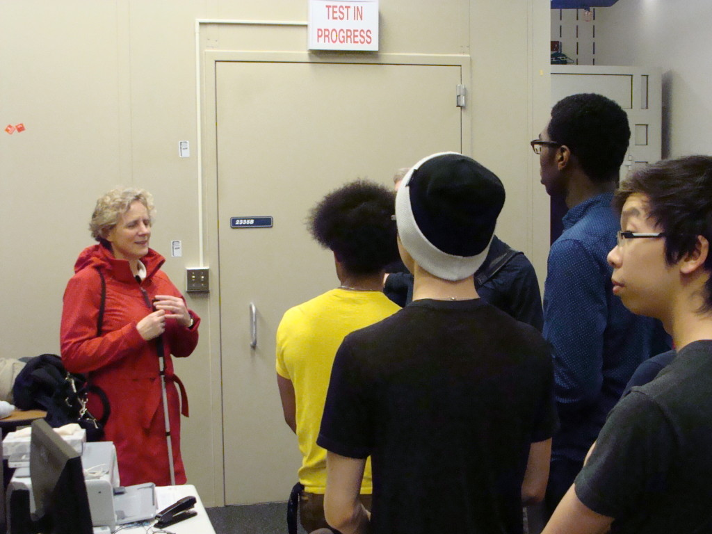 Professor Sile O'Modhrain speaking to the AES students